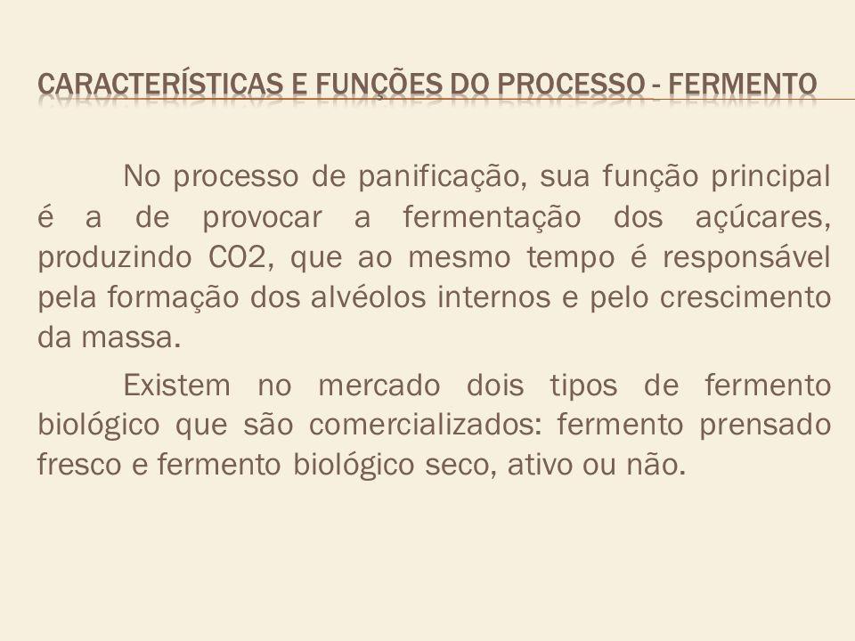 No processo de panificação, sua função principal é a de provocar a fermentação dos açúcares, produzindo CO2, que ao mesmo tempo é responsável pela for