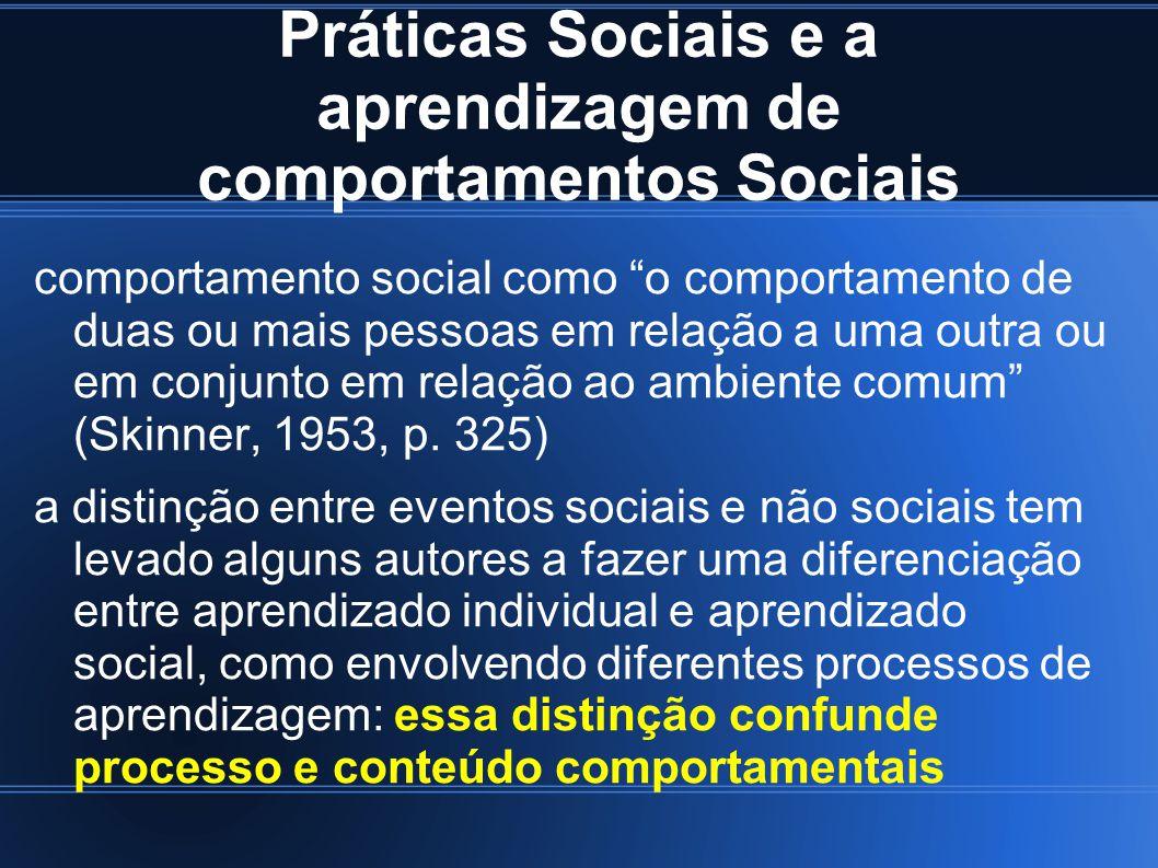 Práticas Sociais e a aprendizagem de comportamentos Sociais comportamento social como o comportamento de duas ou mais pessoas em relação a uma outra o