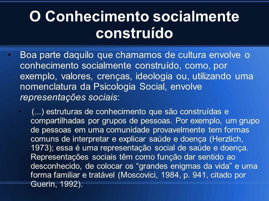 O Conhecimento socialmente construído Boa parte daquilo que chamamos de cultura envolve o conhecimento socialmente construído, como, por exemplo, valo