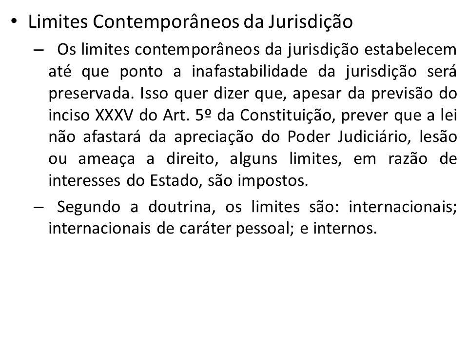 Limites Contemporâneos da Jurisdição – Os limites contemporâneos da jurisdição estabelecem até que ponto a inafastabilidade da jurisdição será preserv