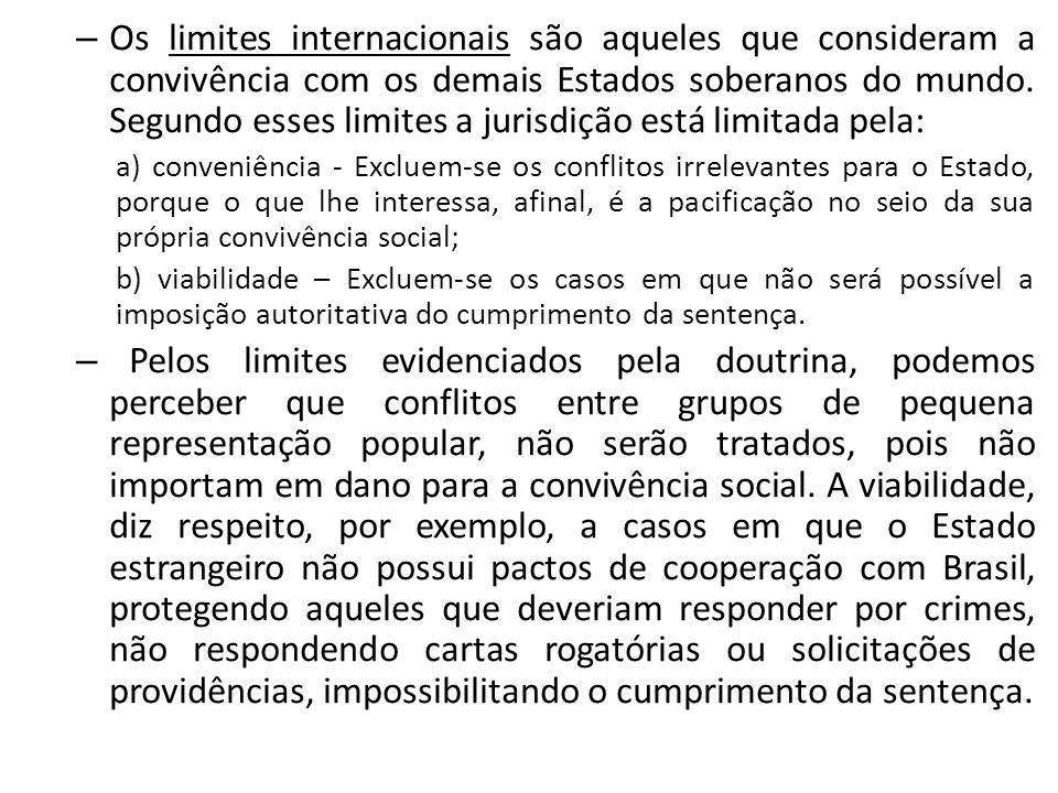 – Os limites internacionais são aqueles que consideram a convivência com os demais Estados soberanos do mundo. Segundo esses limites a jurisdição está
