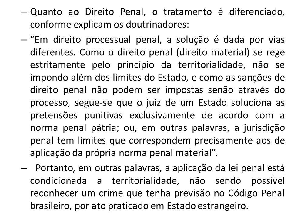– Quanto ao Direito Penal, o tratamento é diferenciado, conforme explicam os doutrinadores: – Em direito processual penal, a solução é dada por vias d