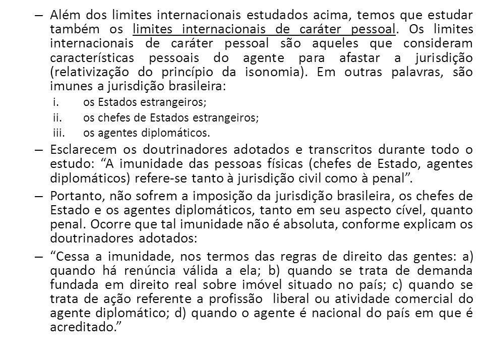 – Além dos limites internacionais estudados acima, temos que estudar também os limites internacionais de caráter pessoal. Os limites internacionais de