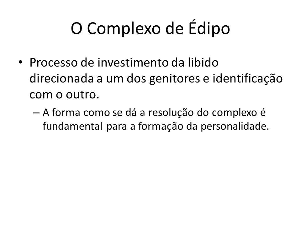 O Complexo de Édipo Processo de investimento da libido direcionada a um dos genitores e identificação com o outro. – A forma como se dá a resolução do