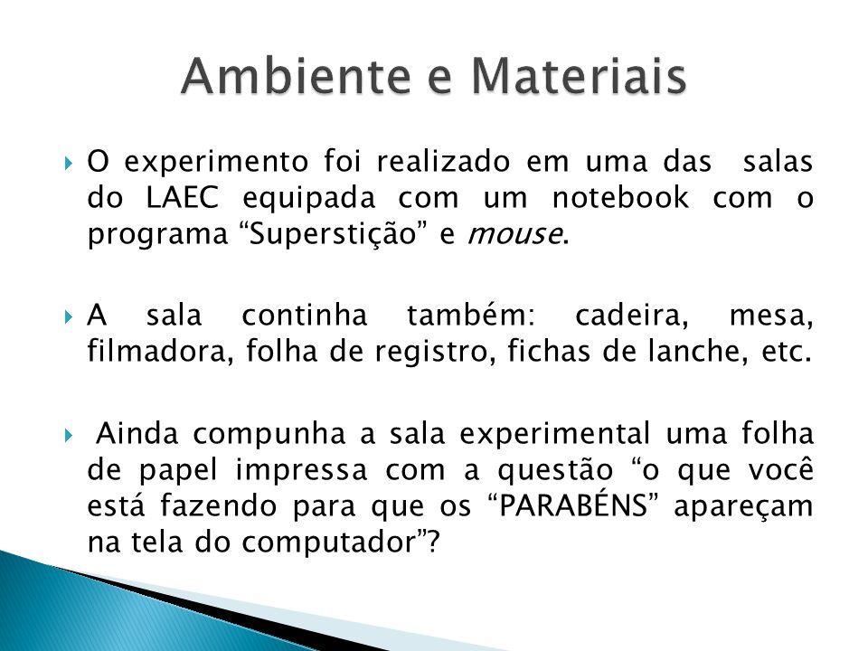 O experimento foi realizado em uma das salas do LAEC equipada com um notebook com o programa Superstição e mouse.