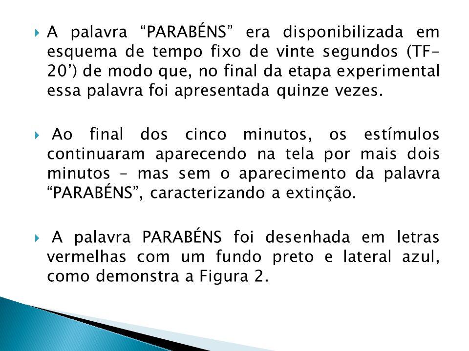 A palavra PARABÉNS era disponibilizada em esquema de tempo fixo de vinte segundos (TF- 20) de modo que, no final da etapa experimental essa palavra foi apresentada quinze vezes.