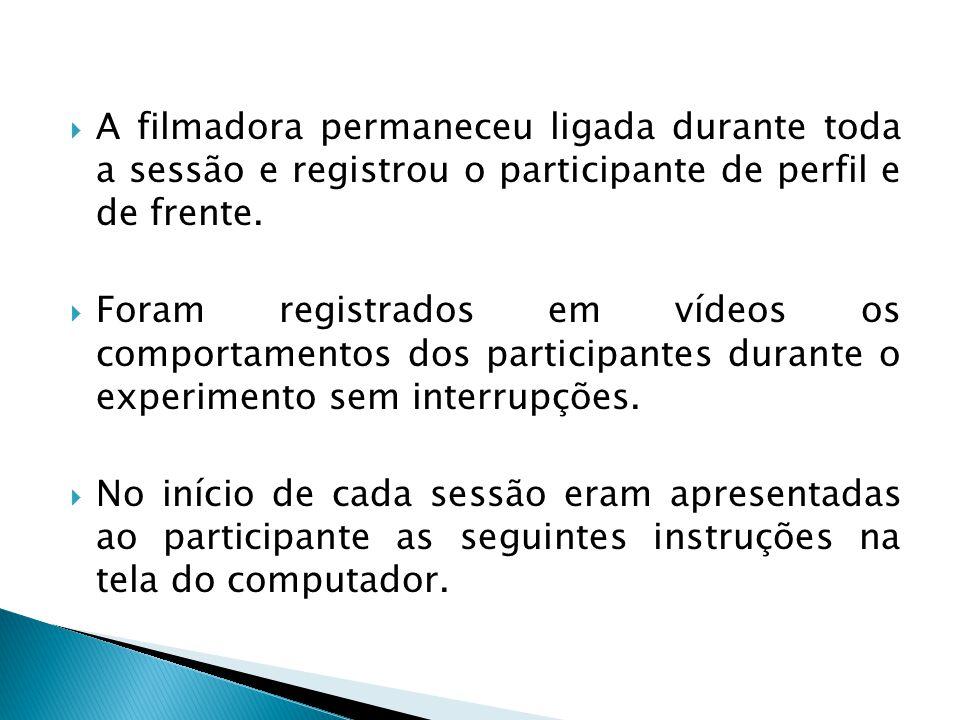 A filmadora permaneceu ligada durante toda a sessão e registrou o participante de perfil e de frente.