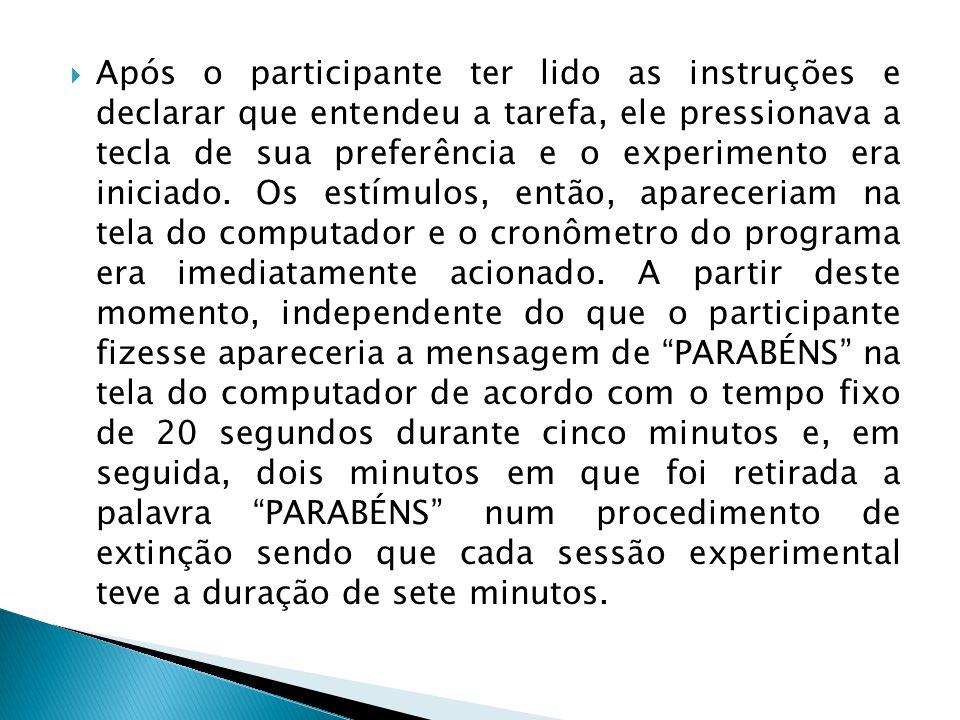 Após o participante ter lido as instruções e declarar que entendeu a tarefa, ele pressionava a tecla de sua preferência e o experimento era iniciado.