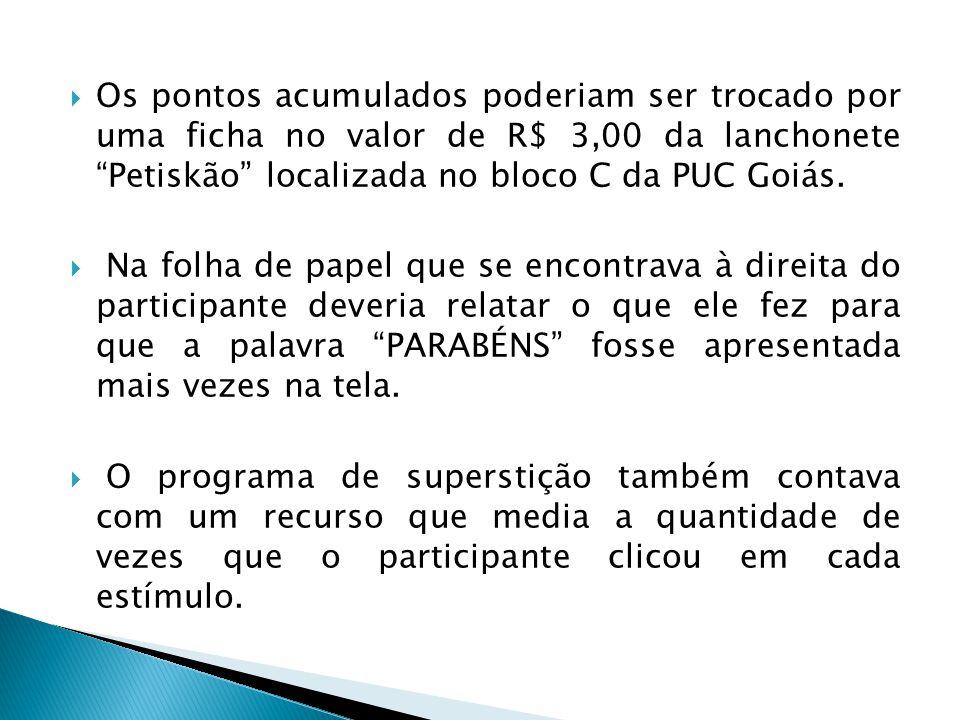 Os pontos acumulados poderiam ser trocado por uma ficha no valor de R$ 3,00 da lanchonete Petiskão localizada no bloco C da PUC Goiás.