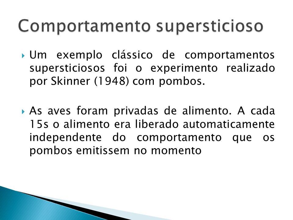 Um exemplo clássico de comportamentos supersticiosos foi o experimento realizado por Skinner (1948) com pombos.