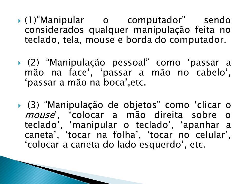(1)Manipular o computador sendo considerados qualquer manipulação feita no teclado, tela, mouse e borda do computador.