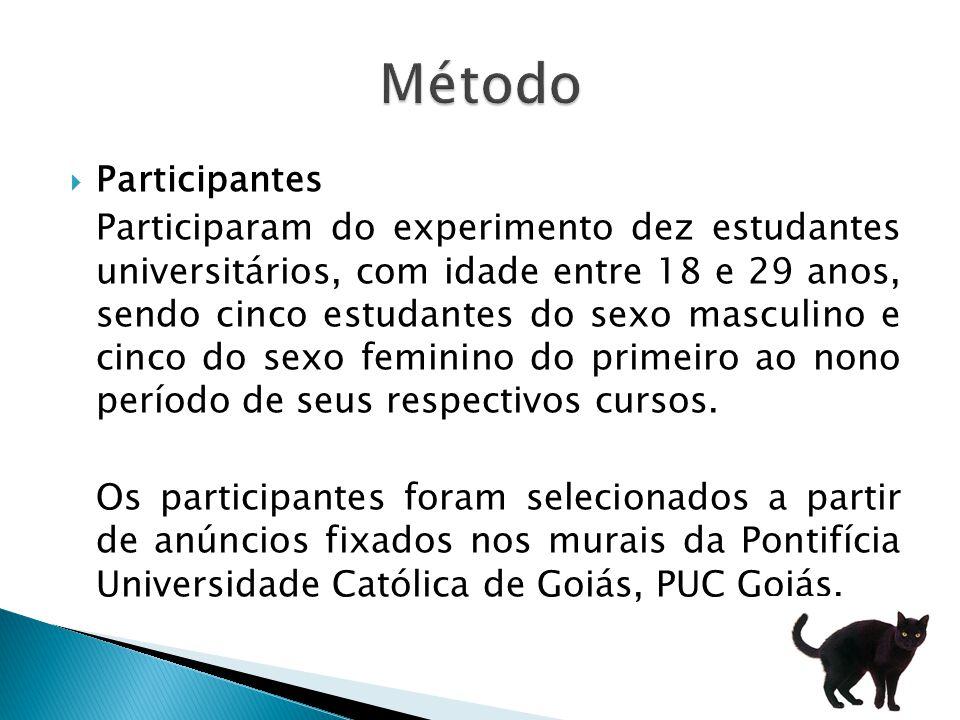 Participantes Participaram do experimento dez estudantes universitários, com idade entre 18 e 29 anos, sendo cinco estudantes do sexo masculino e cinco do sexo feminino do primeiro ao nono período de seus respectivos cursos.
