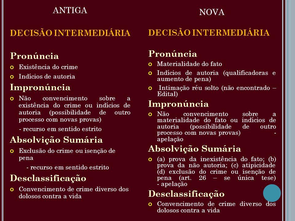 ANTIGA DECISÃO INTERMEDIÁRIA Pronúncia Existência do crime Indícios de autoria Impronúncia Não convencimento sobre a existência do crime ou indícios d