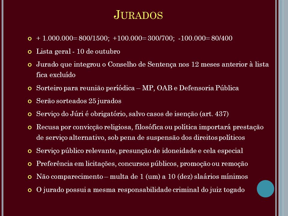 J URADOS + 1.000.000= 800/1500; +100.000= 300/700; -100.000= 80/400 Lista geral - 10 de outubro Jurado que integrou o Conselho de Sentença nos 12 mese