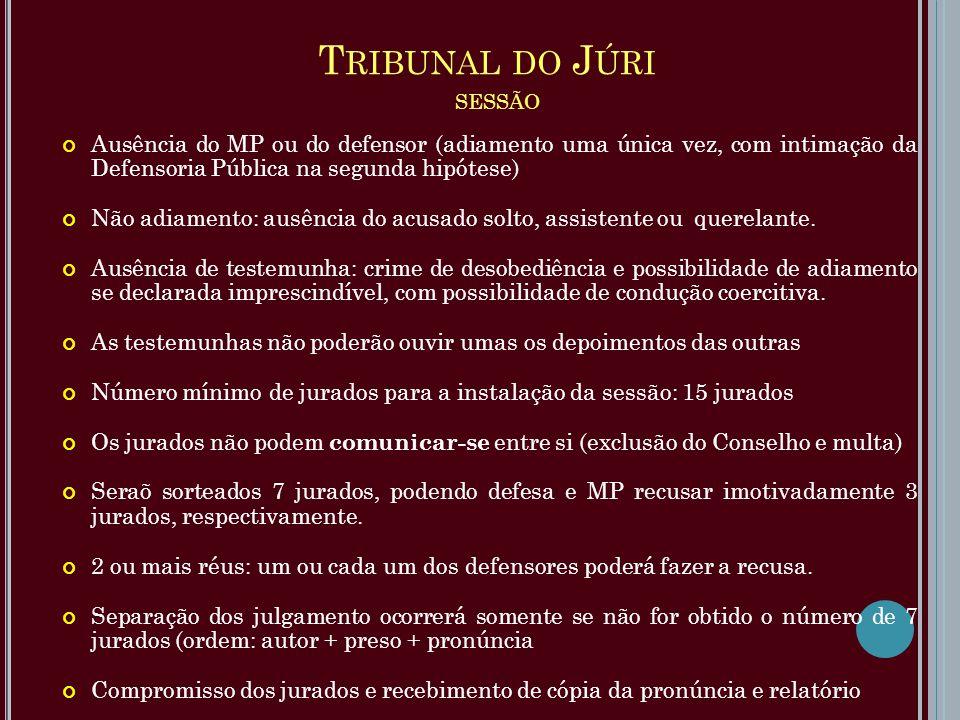 T RIBUNAL DO J ÚRI SESSÃO Ausência do MP ou do defensor (adiamento uma única vez, com intimação da Defensoria Pública na segunda hipótese) Não adiamen