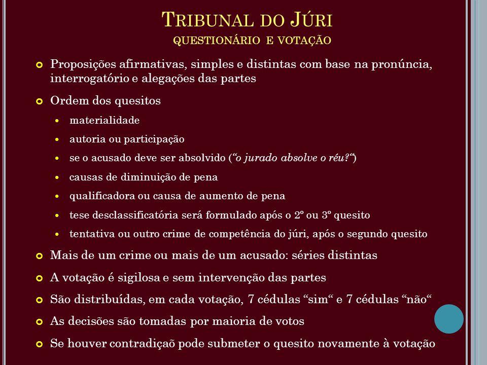 T RIBUNAL DO J ÚRI QUESTIONÁRIO E VOTAÇÃO Proposições afirmativas, simples e distintas com base na pronúncia, interrogatório e alegações das partes Or