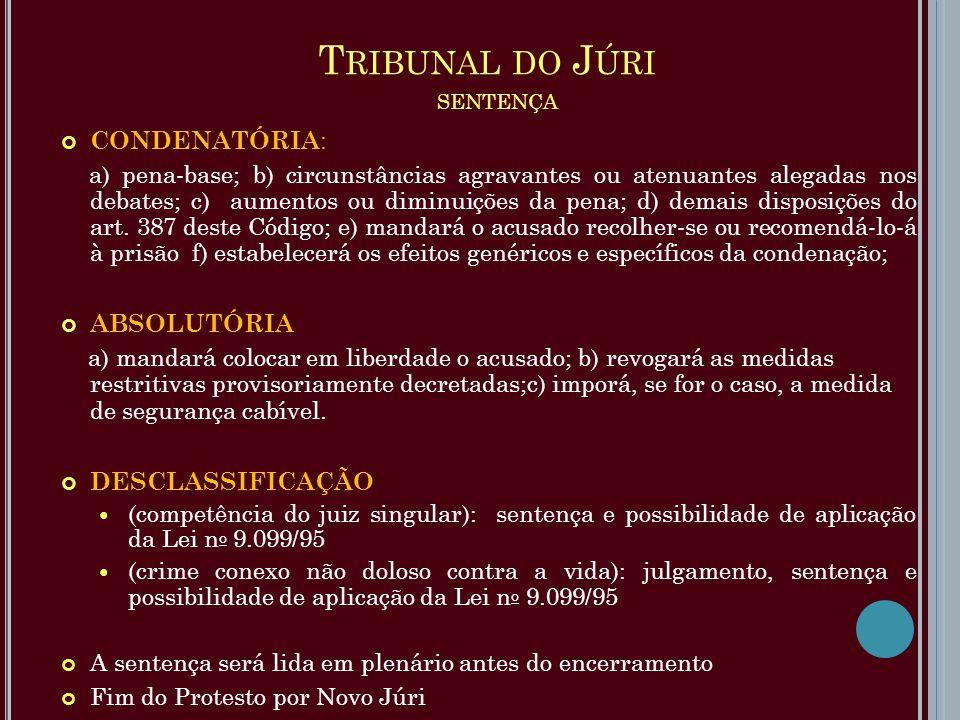 T RIBUNAL DO J ÚRI SENTENÇA CONDENATÓRIA : a) pena-base; b) circunstâncias agravantes ou atenuantes alegadas nos debates; c) aumentos ou diminuições d