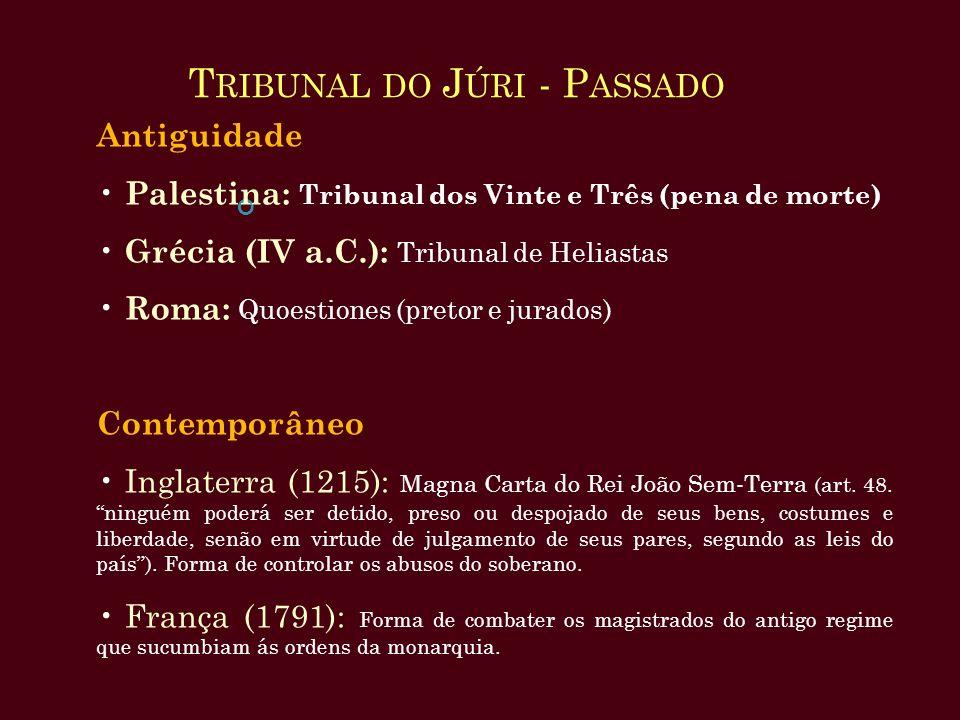T RIBUNAL DO J ÚRI - P ASSADO Antiguidade Palestina: Tribunal dos Vinte e Três (pena de morte) Grécia (IV a.C.): Tribunal de Heliastas Roma: Quoestion