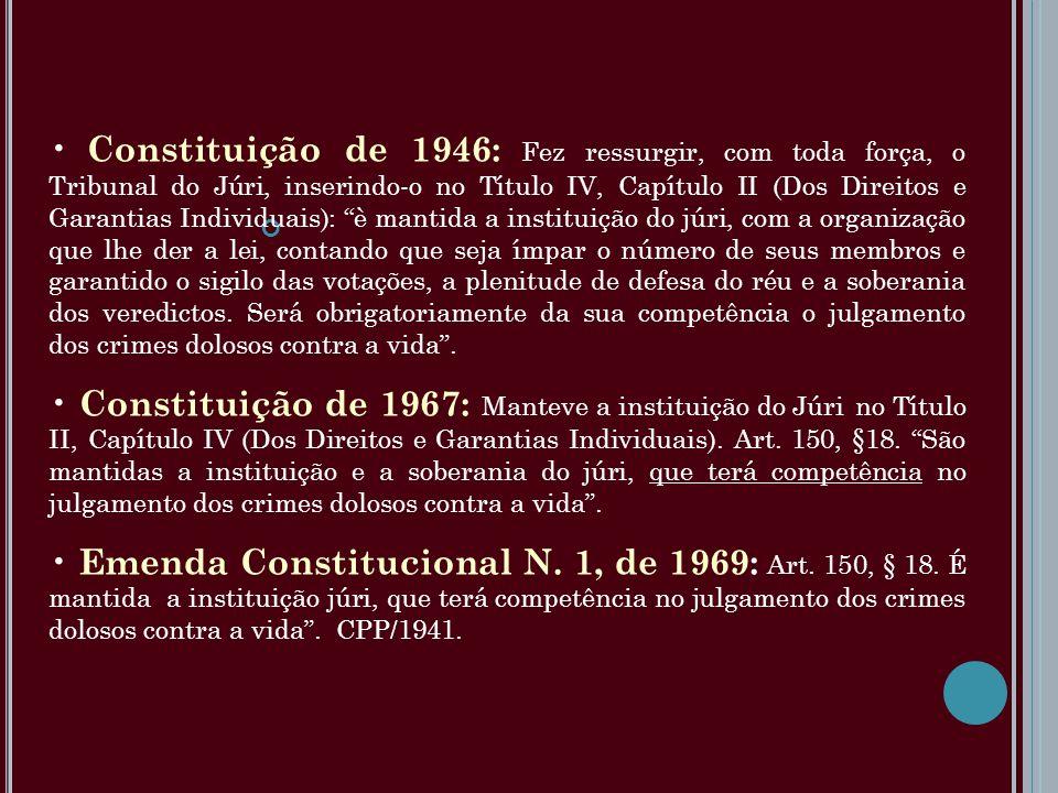 Constituição de 1946: Fez ressurgir, com toda força, o Tribunal do Júri, inserindo-o no Título IV, Capítulo II (Dos Direitos e Garantias Individuais):