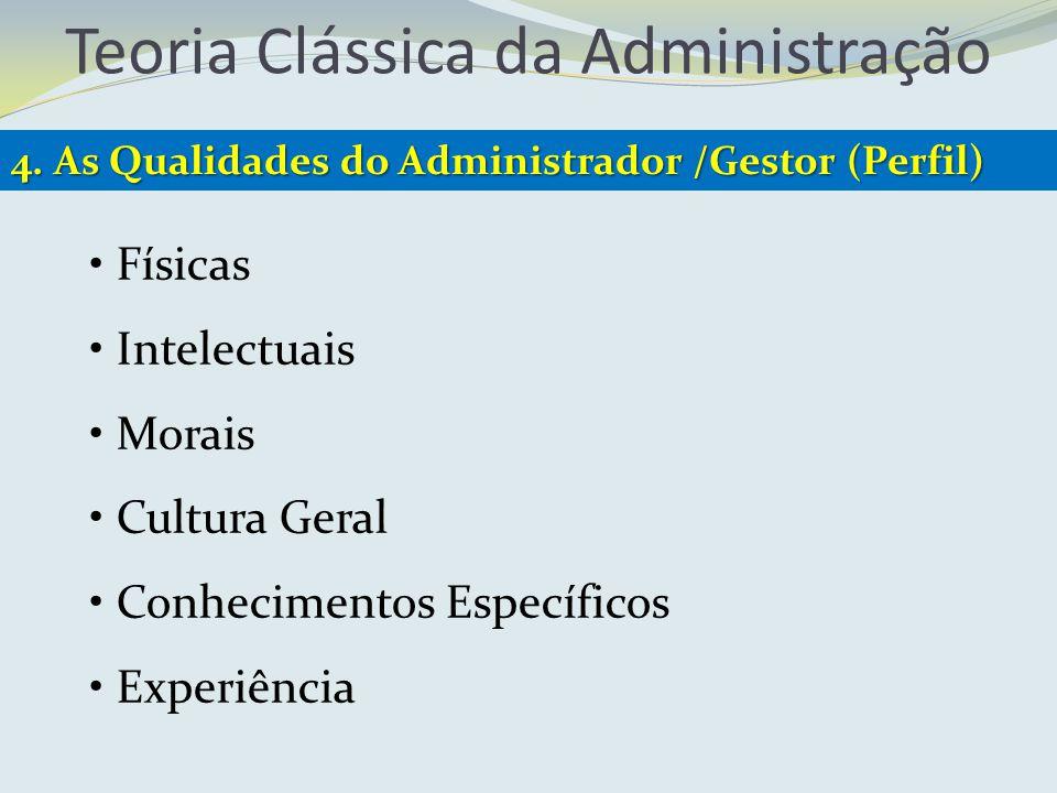 Teoria Clássica da Administração 4. As Qualidades do Administrador /Gestor (Perfil) Físicas Intelectuais Morais Cultura Geral Conhecimentos Específico