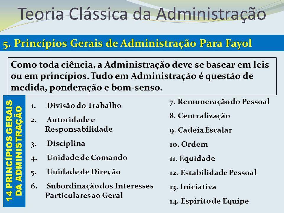 Teoria Clássica da Administração 5. Princípios Gerais de Administração Para Fayol 1. Divisão do Trabalho 2. Autoridade e Responsabilidade 3. Disciplin