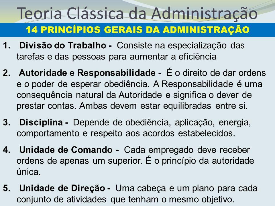 Teoria Clássica da Administração 1. Divisão do Trabalho - Consiste na especialização das tarefas e das pessoas para aumentar a eficiência 2. Autoridad