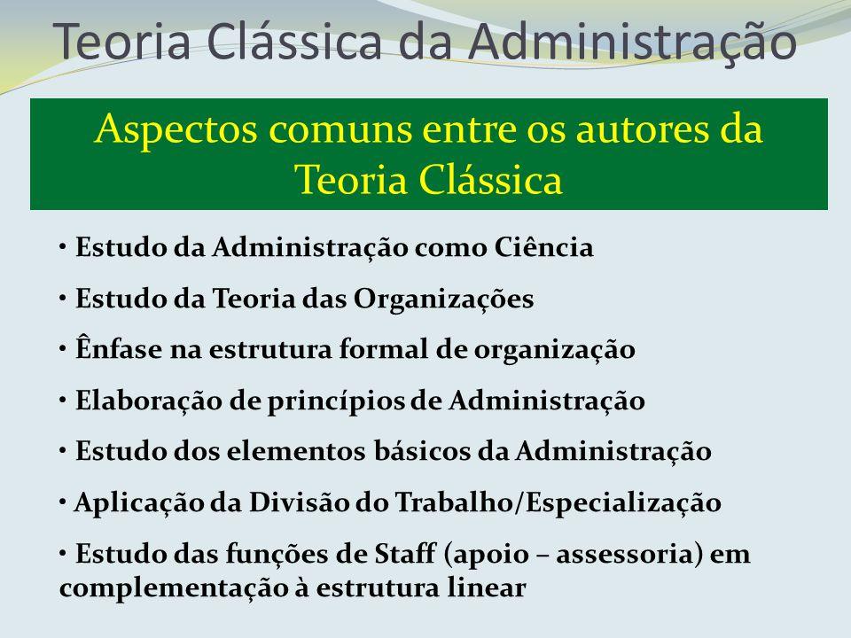 Teoria Clássica da Administração Aspectos comuns entre os autores da Teoria Clássica Estudo da Administração como Ciência Estudo da Teoria das Organiz
