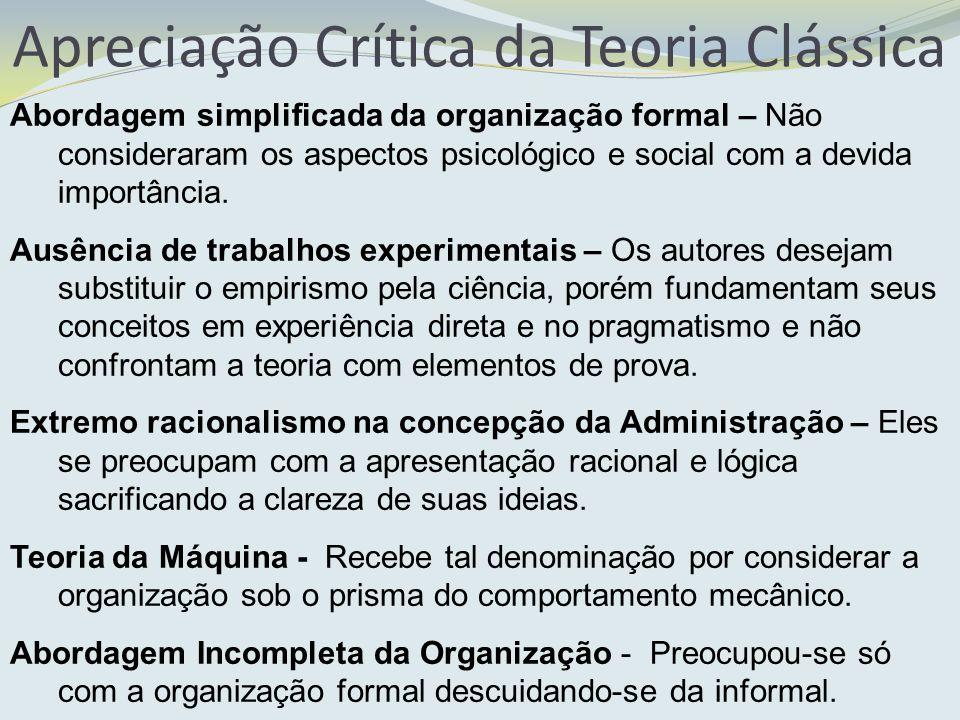 Apreciação Crítica da Teoria Clássica Abordagem simplificada da organização formal – Não consideraram os aspectos psicológico e social com a devida im