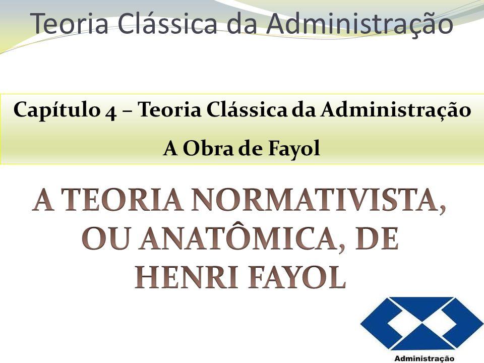 Teoria Clássica da Administração Capítulo 4 – Teoria Clássica da Administração A Obra de Fayol