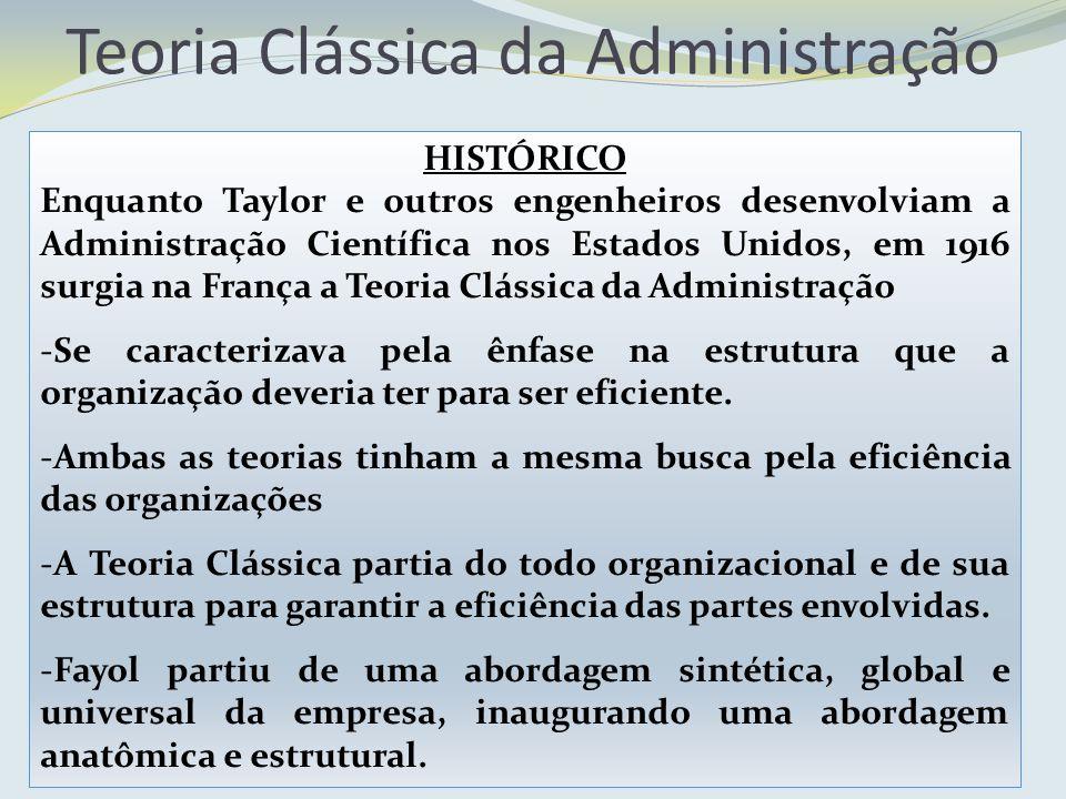 HISTÓRICO Enquanto Taylor e outros engenheiros desenvolviam a Administração Científica nos Estados Unidos, em 1916 surgia na França a Teoria Clássica