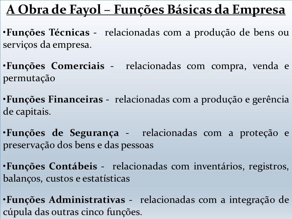A Obra de Fayol – Funções Básicas da Empresa Funções Técnicas - relacionadas com a produção de bens ou serviços da empresa. Funções Comerciais - relac
