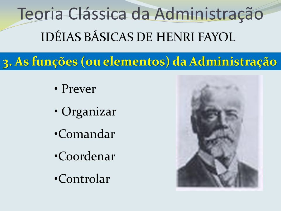 Teoria Clássica da Administração IDÉIAS BÁSICAS DE HENRI FAYOL 3. As funções (ou elementos) da Administração Prever Organizar Comandar Coordenar Contr