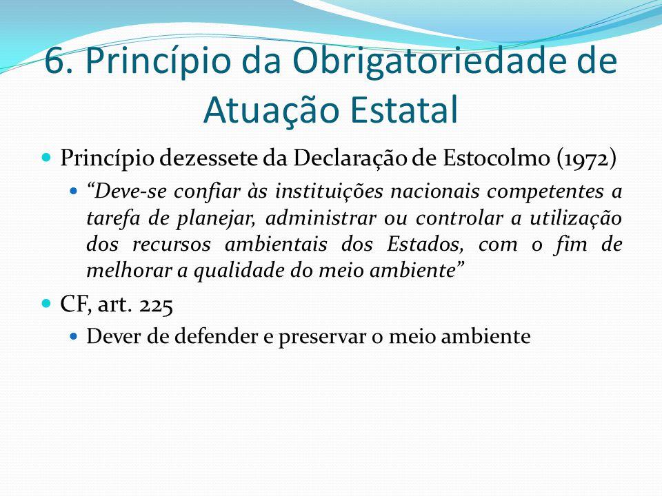6. Princípio da Obrigatoriedade de Atuação Estatal Princípio dezessete da Declaração de Estocolmo (1972) Deve-se confiar às instituições nacionais com