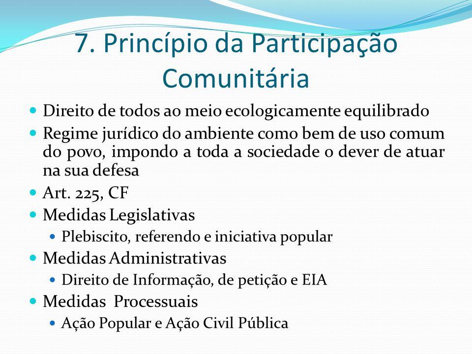 7. Princípio da Participação Comunitária Direito de todos ao meio ecologicamente equilibrado Regime jurídico do ambiente como bem de uso comum do povo