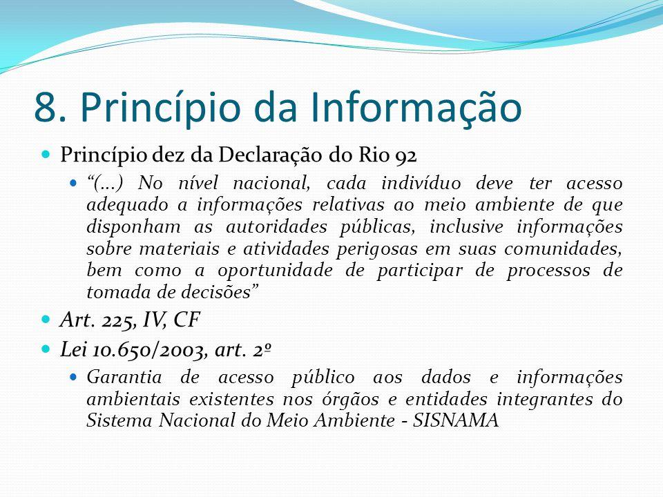 8. Princípio da Informação Princípio dez da Declaração do Rio 92 (...) No nível nacional, cada indivíduo deve ter acesso adequado a informações relati