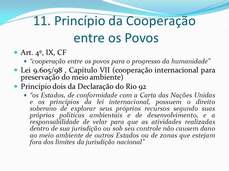 11. Princípio da Cooperação entre os Povos Art. 4º, IX, CF cooperação entre os povos para o progresso da humanidade Lei 9.605/98, Capítulo VII (cooper