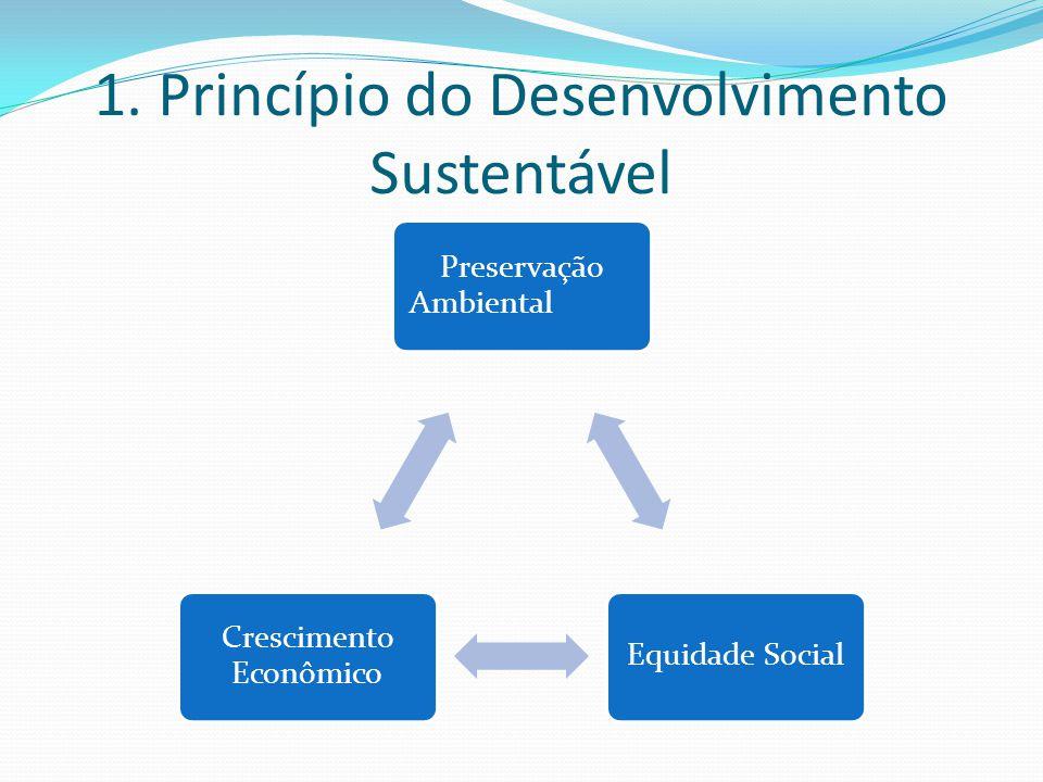 1. Princípio do Desenvolvimento Sustentável Preservação Ambiental Equidade Social Crescimento Econômico