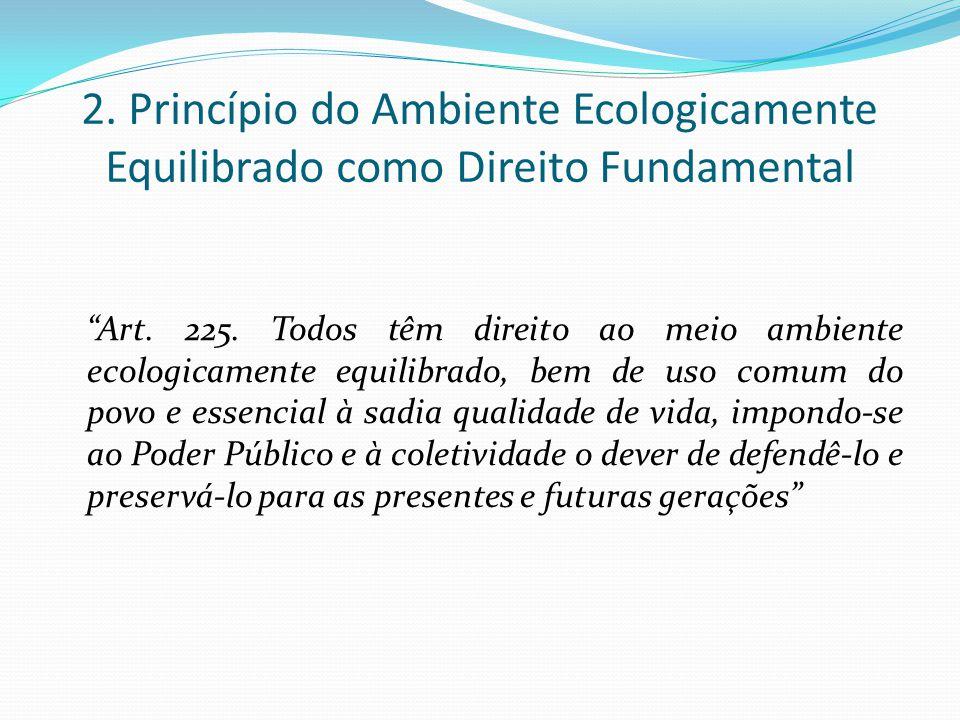 2. Princípio do Ambiente Ecologicamente Equilibrado como Direito Fundamental Art. 225. Todos têm direito ao meio ambiente ecologicamente equilibrado,