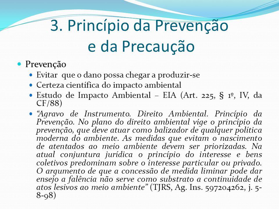 3. Princípio da Prevenção e da Precaução Prevenção Evitar que o dano possa chegar a produzir-se Certeza científica do impacto ambiental Estudo de Impa