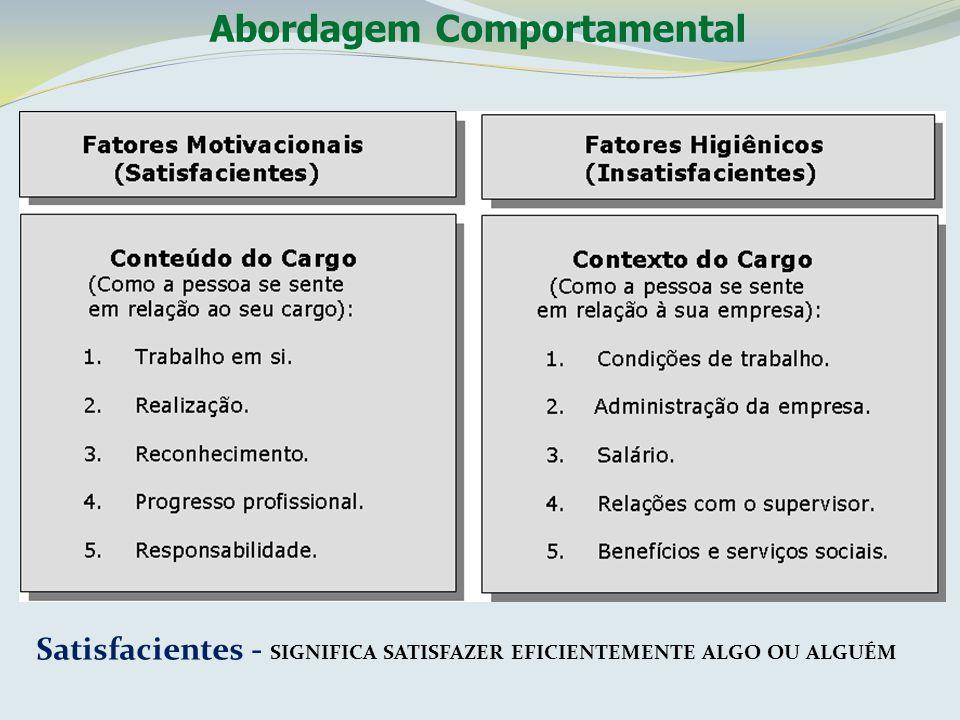 Abordagem Comportamental Satisfacientes - SIGNIFICA SATISFAZER EFICIENTEMENTE ALGO OU ALGUÉM