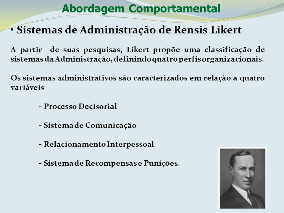 Sistemas de Administração de Rensis Likert A partir de suas pesquisas, Likert propõe uma classificação de sistemas da Administração, definindo quatro