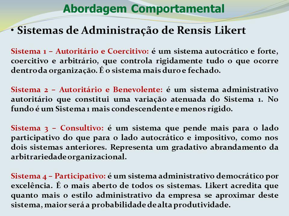 Sistemas de Administração de Rensis Likert Sistema 1 – Autoritário e Coercitivo: é um sistema autocrático e forte, coercitivo e arbitrário, que contro