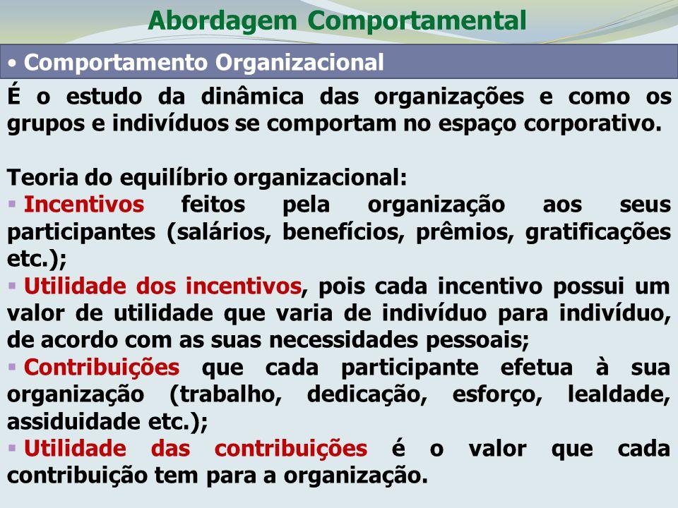 Abordagem Comportamental Comportamento Organizacional É o estudo da dinâmica das organizações e como os grupos e indivíduos se comportam no espaço cor