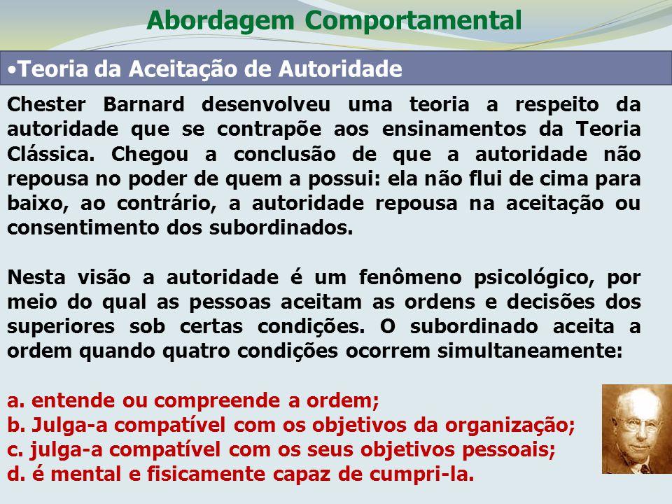 Abordagem Comportamental Teoria da Aceitação de Autoridade Chester Barnard desenvolveu uma teoria a respeito da autoridade que se contrapõe aos ensina