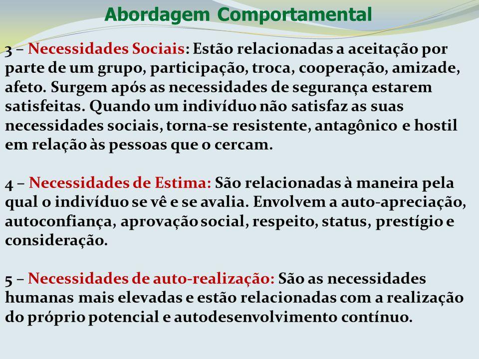 Abordagem Comportamental 3 – Necessidades Sociais: Estão relacionadas a aceitação por parte de um grupo, participação, troca, cooperação, amizade, afe