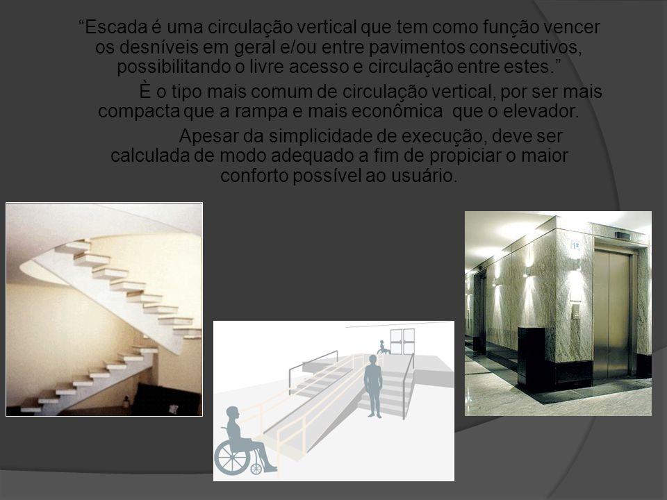 Escada é uma circulação vertical que tem como função vencer os desníveis em geral e/ou entre pavimentos consecutivos, possibilitando o livre acesso e circulação entre estes.
