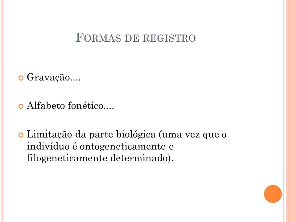 F ORMAS DE REGISTRO Gravação.... Alfabeto fonético.... Limitação da parte biológica (uma vez que o indivíduo é ontogeneticamente e filogeneticamente d