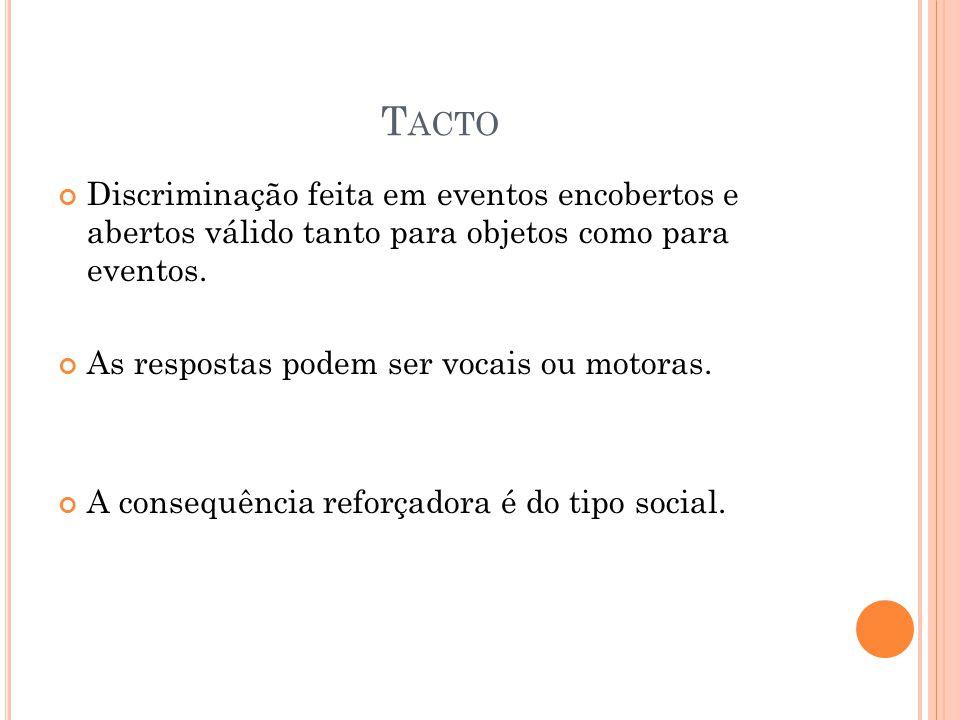 T ACTO Discriminação feita em eventos encobertos e abertos válido tanto para objetos como para eventos. As respostas podem ser vocais ou motoras. A co