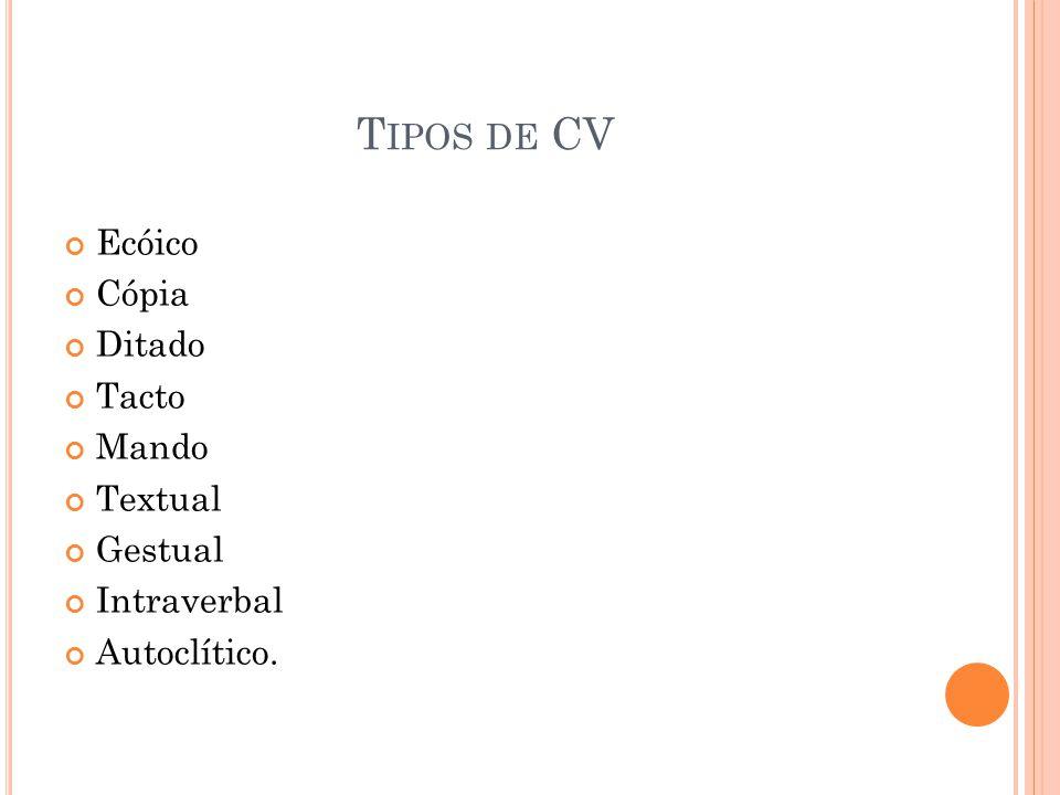 T IPOS DE CV Ecóico Cópia Ditado Tacto Mando Textual Gestual Intraverbal Autoclítico.