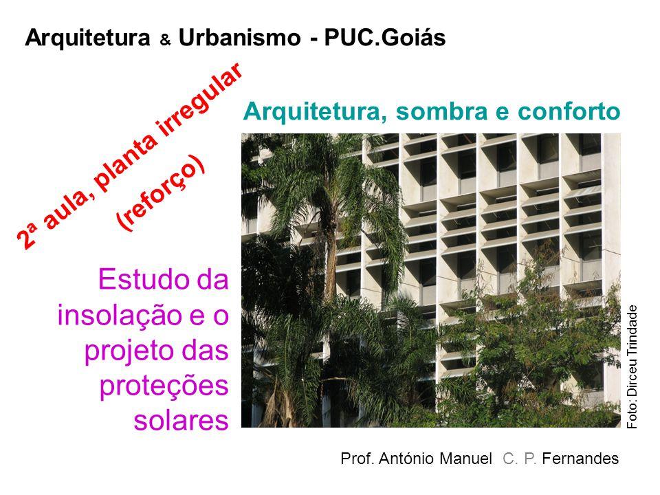 Estudo da insolação e o projeto das proteções solares Prof. António Manuel C. P. Fernandes Arquitetura, sombra e conforto Arquitetura & Urbanismo - PU